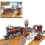 BAXT Technik Zug Eisenbahn Set, 833 Teile Technik Zug Schienen Bausteine City Güterzug City Personenzug ModellBausatz mit Schienen, Klemmbausteine Kompatibel mit Lego Technic Zug