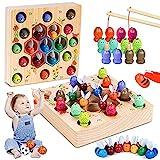 COOJOMMY Magnetische Angelspiel Holzspielzeug,2 in 1 Montessori Spielzeug Magnettafel Fischspielzeug aus Holz Geschenk ab Mädchen Jungen Kinder Lernen Spielzeug,Fit ab 3 4 5 Kind, Habe EIN Patent