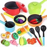 GILOBABY Küchenspielzeug für Kinder,kindergeschirr spielküche mit 23 pcs Zubehör,Schneiden Lebensmittel Obst Gemüse Spielzeug,Geschenke für Jungen und Mädchen über 3 Jahre