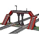 Sugeren Architektur Fußgängerbrücke Bausteine Modell, Eisenbahn Fußgängerbrücke passt die Eisenbahnstrecke, Eisenbahn-Bauset, 665 Teile Klemmbausteine Kompatibel mit Lego City Zug