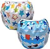 Luxja Schwimmwindel Baby, 2 Stück Schwimmhose für Baby, Junge, Mädchen (0-3 Jahr), One Size Badewindelhosen, Wiederverwendbare Schwimmwindeln Einstellbare für Kleinkinder