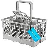 SANAWATEC Besteckkorb Cutlery Basket Spülkorb passend für viele Spülmaschinen und Geschirrspüler Tragegriff mit integriertem Wasserablauf 24 x 13.6 cm- Kunststoff und extra stabiler Bodengitter I grau