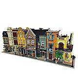 PEXL Haus Bausteine Bausatz, 4-IN-1 Modular Stadthaus Architektur Modell mit LED Beleuchtung, 13500 Klemmbausteine und 22 Minifiguren, Kompatibel mit Lego Stadthaus