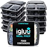 [10er Pack] 3-Fach Meal Prep Container Von Igluu - Essensbox, Lunchbox Mikrowellengeeignet, Spülmaschinenfest Und Wiederverwendbar - Luftdichter Deckelverschluss, BPA Frei