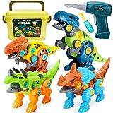 Dreamon Dinosaurier Spielzeug für Kinder Montage Spielzeug mit Aufbewahrungsbox Elektrische Bohrmaschine, DIY Baustelle Spielzeug Geschenke für Jungen Mädchen