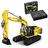 BAXT Technik Bagger Bausteine, CADA C61082W, 1: 20 Raupenbagger Spielzeug Bagger Modell Baufahrzeuge 1702+ MOC Klemmbausteine Bausatz Kompatibel mit Lego Technic Bagger
