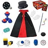 Heyzeibo Kinder Zauberkasten - Anfänger Kinder Zaubertricks Set mit Zauberstab, Zylinder, Kostüm & vieles mehr, Neuheit Magie Requisiten Zauber Tricks Geburtstag Magier Junge Mädchen (Large)
