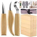 Fuyit Holz Schnitzwerkzeug Set-Beinhaltet 6 Teiliges Holz Schnitzmesser Set &10 Pcs Linde Holzblöcke für Löffel Schüssel Cup Edelstahl Schnitzwerkzeuge für Anfänger/Profis mit Schnittfeste Handschuhe