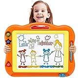 LAOSLAISI Spielzeug ab 2 Jahre, Große Magnetische Maltafel Zaubertafel mit 3 Form Stempel, Kinderspielzeug Pferde Mädchen Geschenk für Kinder ab 2 3 Jahre Mädchen Jungen