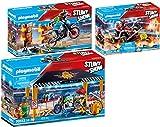 PLAYMOBIL® Stuntshow 3er Set 70552 70553 70554 Werkstattzelt + Motorrad + Feuerwehrkart