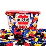 Simba 104114201 - Blox 500 Bausteine für Kinder ab 4 Jahren, 8er Steinebox, ohne Grundplatte, vollkompatibel, farblich gemischt, schwarz, rot, weiß, gelb, blau