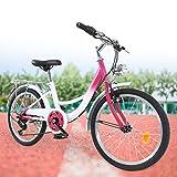 Fetcoi 20 Zoll 6 Gang Kinder Fahrrad Jungen Mädchen Fahrrad für 12-16 Jahre Children Bicycle (Rosa + Weiß)