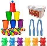 BYBOT Bären Zählen mit Passenden Sortierbechern 71 Stück, Erkennungs STEM Lernspielzeug für Kleinkinder, Vorschul Lernspielzeug