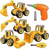 Yojoloin Bagger Spielzeug Sandspielzeug Sandkasten Spielzeug für Kinder Jungen Mädchen,Spielzeug ab 3 4 5 6 7 8 Jahre,4 in 1 DIY Traktor LKW Spielzeug Auto mit Schraubendreher