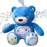 Plüsch beruhigender Musik Einschlafhilfe für Babys,Baby Plüsch Teddybär,4 Farben Nachtlicht mit Sternprojektor,ab der Geburt