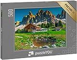 "puzzleYOU: Puzzle 500 Teile ""Atemberaubende Geisler Berggruppe, Dolomiten, Italien"""