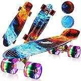 streakboard Skateboard, Komplettboard für Erwachsene Kinder Jugendliche Jungen Mädchen, Mini Skateboard mit Kunststoff Deck und Blinkenden LED-Rollen, Cruiser Skateboard mit ABEC-7 Kugellager, 56 cm