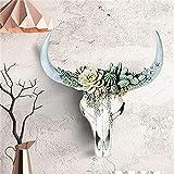 Zller2587 Longhorn Fleisch,Saftige BlumentöPfe,Decorative Skull,Polyresin Gartenfigur,Decorative Wall Shelf,Decorative Home Accessories,for Garden, Balcony, Office, Large A