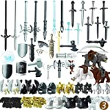 Vengo 56St. Ritter Helm, Ritter Weste und Custom Waffen Set für Ritter Mini Figuren SWAT Team Polizei, kompatibel mit Lego
