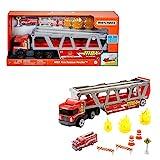 Matchbox GWM23 - Matchbox Construction Hauler mit 1 Feuerwehrfahrzeug und 8 Zubehörteilen, ab 3 Jahren