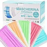 Medizinische Masken bunt,50 Stück,3-lagig Einwegmasken,CE Zertifiziert typ IIR mit BFE ≥ 98% op Masken für Erwachsene,Effektiver Mund und Nasenschutz,Atmungsaktive Bedeckung