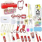 KAIBINY 45 Teile Arztkoffer Doktor Spielzeug mit Echt Stethoskop Thermometer, Spritze und praktischem für Kinder Rollenspiel Medizinisches Geschenk(rot)