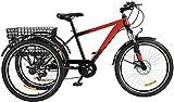 Viribus Dreirad für Erwachsene 24 Zoll Fahrrad mit 3 Rädern 7 Geschwindigkeit Lastenfahrrad mit Großem Fahrradkorb (Rot)
