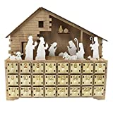 BICCQ Countdown Tischkalender Weihnachtskrippe aus Holz, leuchtende Ornamente mit Schubladendekoration (Farbe: 1)