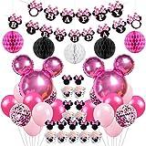 Jollyboom Minnie Motto Birthday Party Supplies Dekorationen Minnie Luftballons Cupcake Toppers Wrapper für 1. 2. 3. Geburtstag
