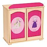 """roba Puppenkleiderschrank Serie """"Happy Fee"""", Puppenmöbel zum Verstauen von Puppenkleidung und Puppenzubehör, Holz natur"""