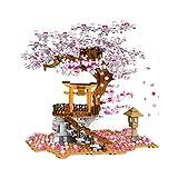 ZJLA 1167+ PCS Sakura Tree Bausteine mit Bauplatten Kirschblüten Baumodellbausatz Kompatibel mit Lego Tree House 21318 (Mit Farbbox)