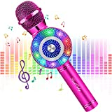 FISHOAKY Karaoke Mikrofon, Bluetooth Mikrofon Karaoke Tragbarer Drahtlose Mikrofon Stereo Player mit Dynamisches Licht, Kompatibel mit Android IOS