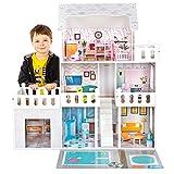 Kinderplay Puppenhaus Holz Puppenvilla Puppen Haus - Barbiehaus Traumhaus Holz, Led-Licht und Zubehör Set mit Garage, Gross Traumvilla, Geeignet für Barbie - Puppen, GS0020A