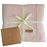 Babydecke Baumwolle rosa   100% GOTs BIO Neugeborenen Decke   leichte Baby Sommerdecke mit dünner Bordüre für Mädchen   atmungsaktive Strickdecke Baumwolldecke   nachhaltiges Geschenk zur Geburt