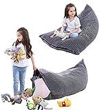 iFCOW Sitzsack Kinder Spielzeug Stofftier Aufbewahrung Sitzsack faltbar extra große Tasche Streifen Stuhl Sofa für Kinder