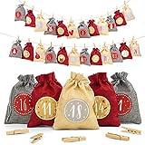 Adventi Adventskalender zum Befüllen [24 Stück] - Weihnachtskalender 2021 Jutesäckchen 15 x 12cm Groß, Weihnachtsdeko Tüten/Säckchen für Weihnachten