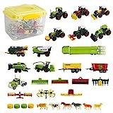 deAO 31- teiliges Druckgussmodell Maschinen DIY Bauernhof Traktor Fahrzeugwagen LKW und Aufbewahrungsbox Spielzeugspielset mit Nutztieren und abnehmbarem Traktorzubehör für Kinder
