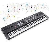 RenFox Tastatur Klavier, Digital Piano Elektronische 61 Schlüssel, Klaviertastatur Einsteiger Tragbarer Elektronischer Tastatur mit Mikrofon,Spielzeugtastatur, Jungen und Mädchen Geschenk (Schwarz)
