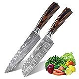 AnhichefProfiKochmesser Küchenmesser 20cm+Santoku Messer 17cm,Allzweckmesser aus hochwertigem Carbon Edelstahl, Extra Scharfe Messerklinge mit ergonomischer Griff