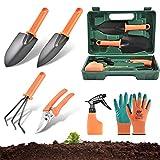 Gartenwerkzeug Set 6 Stück, Anti-Rost Gartengeräte mit Tragetasche, Garten Werkzeuge Set für Frauen Männer,Gartenschaufel set mit Arbeitshandschuhe