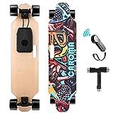 Caroma Elektro Skateboard 90cm(36') mit Drahtloser Bluetooth Fernsteuerung, 25 KMH MAX Geschwindigkeit, 700W Doppelmotoren, Elektrisch Longboard mit PU Räder für Teenager und Erwachsene