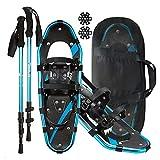 NAOKEY Erwachsener Alle Schneeschuhe Set Für Frauen Männer, Aluminiumschneeschuheyouth mit Trekking-Polen, Tragetasche(Size:21')