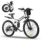 Vivi Ebike Mountainbike 26 Zoll Elektrofahrrad Klappbar Für Herren und Damen,36V 350W E-Bike mit Abnehmbare 8Ah Lithium-Ionen Batterie,Shimano 21-Gang Elektrisches Fahrrad,32km/h (Weiß Blau)