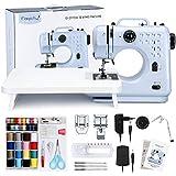 Magicfly Nähmaschine für Anfänger,12 Stichmuster Mini Nähmaschine für Kinder mit Verlängerungstisch und Fußpedal, Stickmaschine Nähmaschinen für Haushalt, Blau