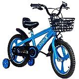 Dripex Kinderfahrrad 16 Zoll ab 4-8 Jahre Jungen & Mädchen Fahrrad für Kinder Laufrad mit Korb, Handbremse und Rücktritt Stützräder, Blau