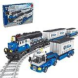 LDB SHOP Technik Zug Eisenbahn Bausatz, 1008 Klemmbausteine Technik City Güterzug Baustein Modell mit Schienen, Technic Zug Elektrische Lokomotive Konstruktionsspielzeug Kompatibel mit Lego Technic