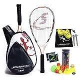 Speedminton® S700 Set – Original Speed Badminton/Crossminton Profi Set mit Carbon Schlägern inkl. 5 Speeder®, Spielfeld, Tasche
