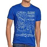 style3 Millennium Falcon Herren T-Shirt Blaupause falkon, Größe:XL;Farbe:Blau