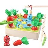 Sunarrive 3-in-1 Angelspiel aus Holz - Fische Angeln Spiel Holzspielzeug - Montessori Motorik Spielzeug - Motorikspielzeug - Lernspielzeug - Lernspiele - Geschenk für Kinder Kleinkind ab 2 3 Jahre