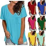 T-Shirt Damen Sommer Oberteile Kurzarm Tee Casual mit V-Ausschnitt und Farbverlauf Einfarbig Shirt Hemd Bluse Female Teenager Mädchen Tshirt V-Ausschnitte Loose Oversize Oberteile Shirt Tops